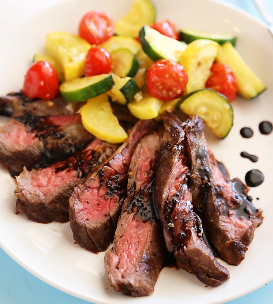 Balsamic Marinated Flank Steak with Roasted Sweet Potatoes ...